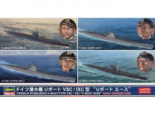 HASEGAWA maquette sous marins 30034 U-BOAT TYPE VIIC/IXC 1/700