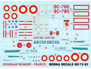 Berna Decals BD72-20 Douglas Invader Français 1/72