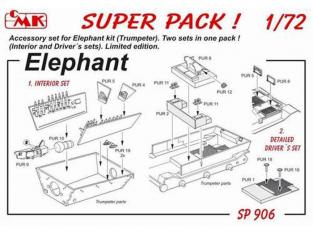 Cmk kit d'amelioration SP906 super pack pour Elephant Trumpeter 1/72