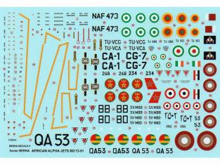 Berna decals 72-91 décalques pour alpha jets African air force 1/72