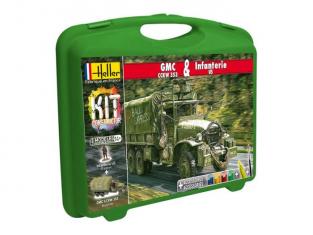 Heller maquette débutant 60996 MALLETTE MALLETTE GMC CCKW 353 + Infanterie US 1/72