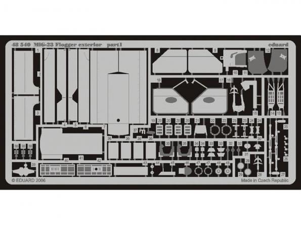 Eduard photodecoupe 48540 Exterieur Mig-23 Flogger Italeri 1/48