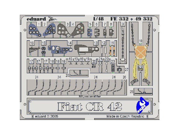Eduard photodecoupe 49332 Fiat CR42 1/48