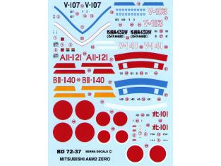 Berna decals BD72-37 Mitsibishi Zero A6M2 model 21 1/72