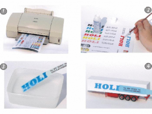 HOLI finition d123 Decal Papier Transparent pour imprimante laser 3 feuilles