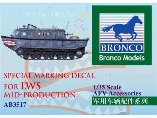 Bronco maquette militaire AB 3517 Décalque de marquage spécial pour LWS millieu de production 1/35