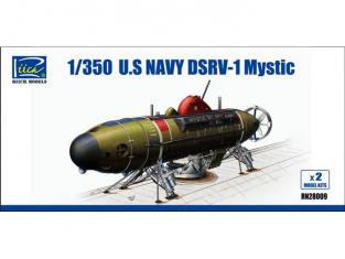 Riich Models maquette bateau 28009 MINI SOUS-MARINS DE SAUVETAGE U.S. NAVY DSRV-1 MYSTIC 1/350