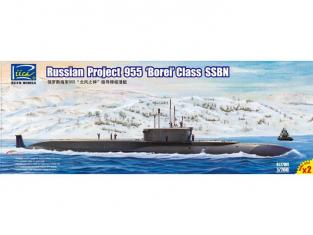 """Riich Models maquette sous-marin 27001 SOUS MARINS SNLE RUSSES PROJET 955 """"BOREI"""" (2 X KITS) 1/700"""