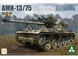 Takom maquette militaire 2038 CHAR LEGER FRANCAIS AMX-13/75 Avec Missiles SS-11 ATGM - 1980 2 En 1 1/35