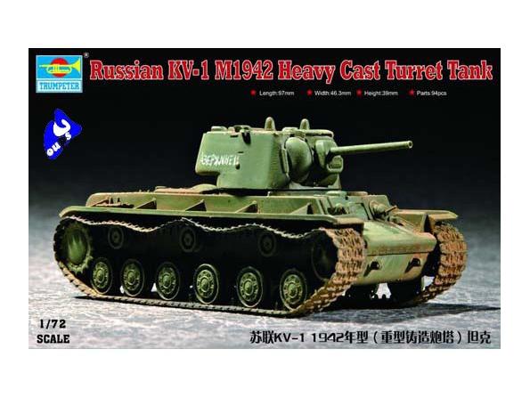 Trumpeter maquette militaire 07231 CHAR LOURD SOVIETIQUE KV-1 1/