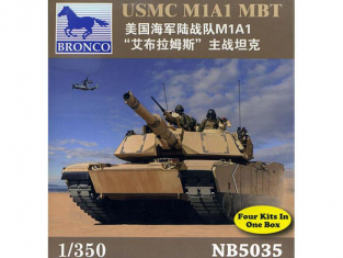 BRONCO maquette militaire NB 5035 USMC M1A1 MBT x4 1/350