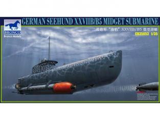 Bronco maquette sous-marin CB 35053 Sous marin Allemand de poche Seehund XVIIB/B5 1/35