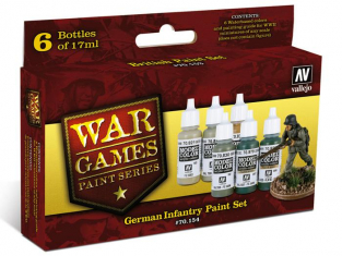 Vallejo Set Model Color Wargames 70154 Infanterie Allemande WWII 6 x 17ml