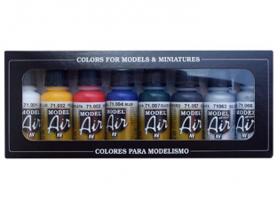 Vallejo Set Model Air 71174 Couleurs de base 8 x 17ml