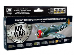 Vallejo Set Model Air 71182 US Army Air Corps en operation Theatre Europeen (ETO) WWII 8 x 17ml