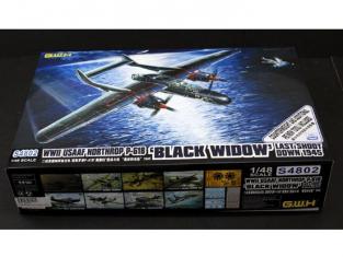 Great Wal Hobby maquette avion S4802 NORTHROP P-61B BLACK WIDOW Last Shoot down 1945 1/48