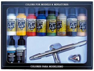 Vallejo Set Model Air 71167 Aerographe Ultra Harder & Steenbeck + Couleurs de base 10 x 17ml