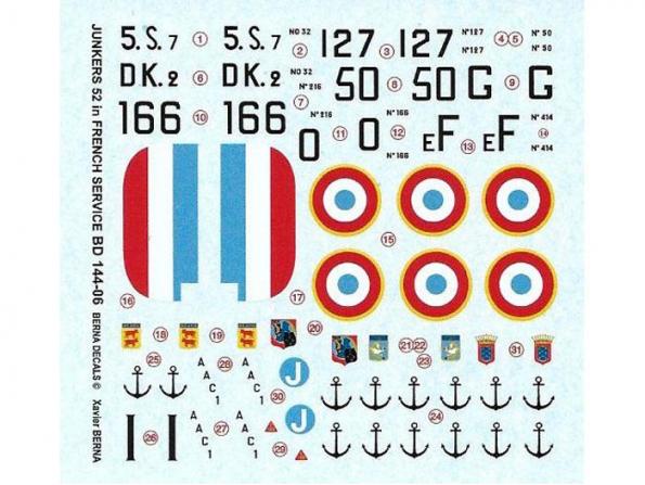 Decalques Berna decals BD144-06 Junkers 52 Force française 1/144