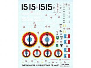Decalques Berna decals BD144-05 Avro Lancaster aux couleurs Française 1/144