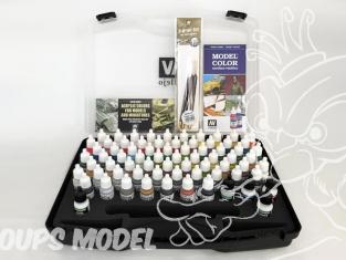 Vallejo Malette Model Color 70172 Couleurs basiques 72 x 17ml + 3 Pinceaux