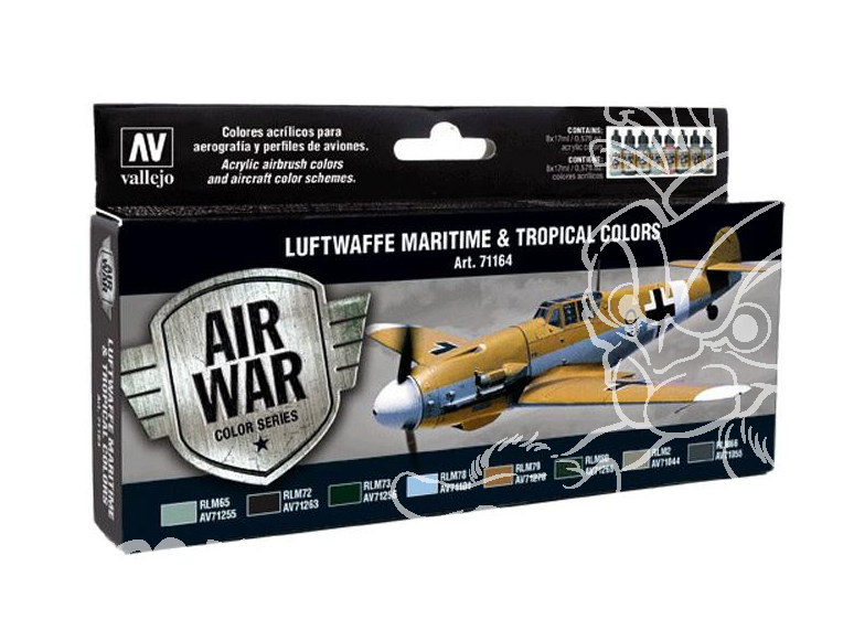 Vallejo Set Model Air 71164 Luftwaffe Maritime & Couleurs tropicales 8 x 17ml