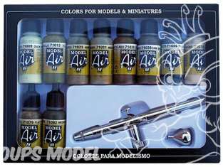 Vallejo Set Model Air 71168 Aerographe Ultra Harder & Steenbeck + Couleurs de camouflage 10 x 17ml