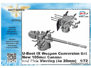 Cmk kit d'amelioration N72020 U-BOOT IX Set De Conversion De L'armement De Pont Nouveaux Canons De 105mm Et FlaK Vierling 1/72