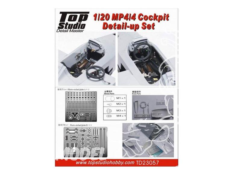 Top Studio amélioration TD23057 MP4/4 detail set du cockpit 1/20
