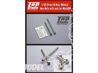 Top Studio amélioration TD23060 Axes de roues avant et arriere pour moto GP 1/12