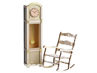 Artesania Latina ART&WOOD 30201 Horloge avec decoration en laiton et Roking Chair