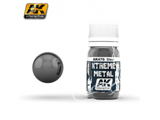 AK interactive XTREME METAL AK476 STEEL Acier 30ML