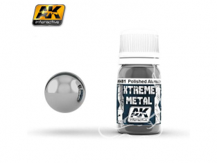 AK interactive XTREME METAL AK481 POLISHED ALUMINIUM 30ML