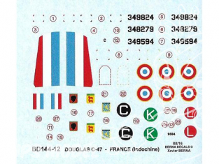 Decalques Berna decals BD144-12 Douglas C-47 Indochine 1/144