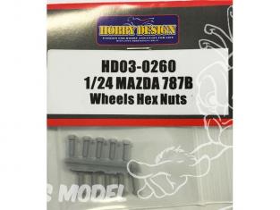 Hobby Design Amélioration 03-0260 Ecrous de roue Mazda 787B 1/24