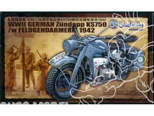 Great Wall Hobby maquette militaire L3524 Moto Zundapp KS 750 avec figurines Feldgendarmerie 1/35