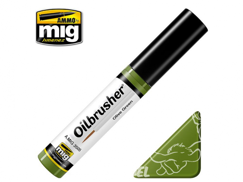MIG Oilbrusher 3505 Vert olive Peinture a l'huile avec applicateur