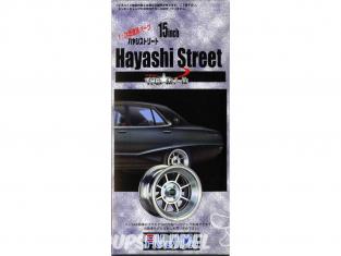 """Fujimi maquette voiture 19275 Jantes Hayashi Street 15"""" et pneus 1/24"""