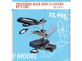 Artesania OUTILLAGE 27022-3 3em main avec 3 loupes eclairage 5 led et support fer a souder