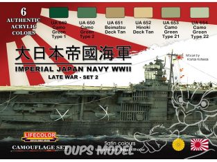 Lifecolor set de peintures cs37 Imperial Japan Navy WWII set II