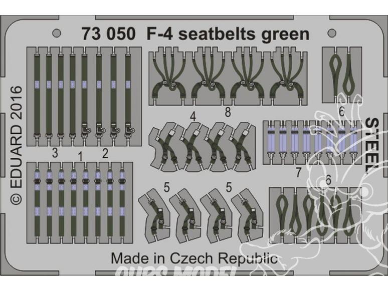 Eduard photodecoupe avion 73050 Harnais vert métal F-4 Phantom 1/72