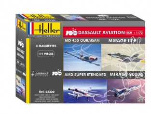 Heller maquette avion 52320 Coffret 100ans Dassault Aviation Mirage - Ouragan - Super Etendard 1/72